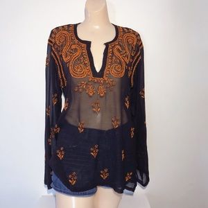 Tops - EMBROIDERED SHEER TUNIC WITH BELL SLEEVES